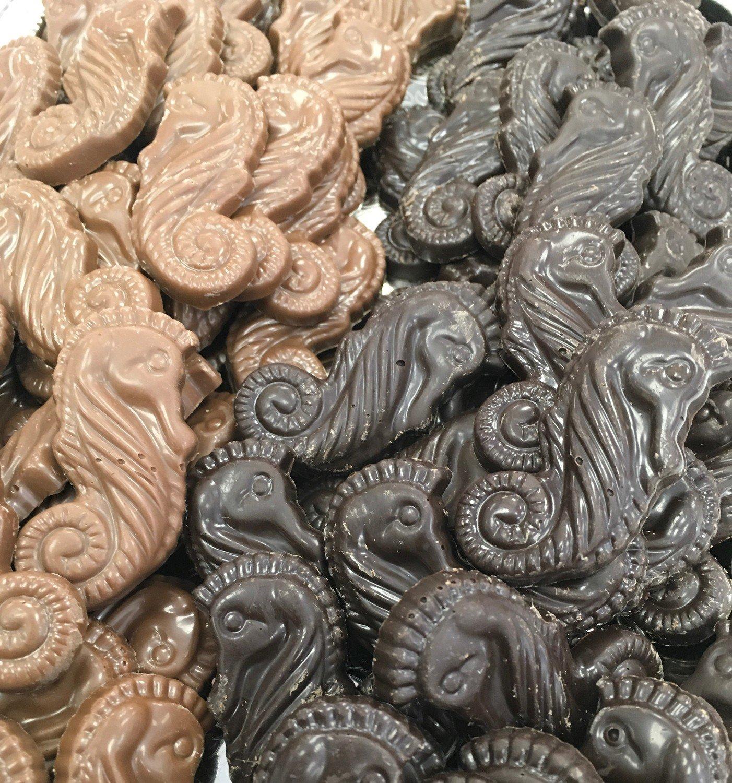F - Chocolate Sea Horses.  Peanut and Gluten Free. 60 to a Lb.