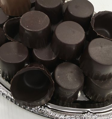 F - One Dozen Dark Chocolate Liquor Cups.  Peanut and Gluten Free.