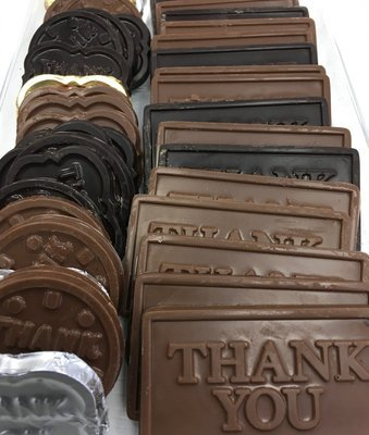 F - Assortment of Thank you Chocolates.  Peanut and Gluten Free.  Approx. 20 Assorted Pieces to a Lb.