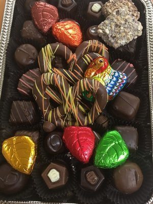 Fall/Thanksgiving Tray Assorted Chocolates & Pretzels with foiled Milk Chocolate Leaves.