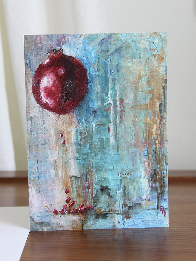 5x7 Greeting Card with Envelope - Pomegranate