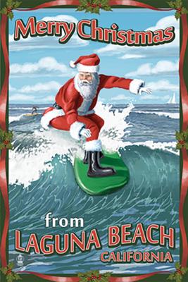 Laguna Beach Surfing Santa Poster