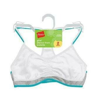 HANES® Hanes Girls' Shirred Front Racerback Bralette 2-Pack​