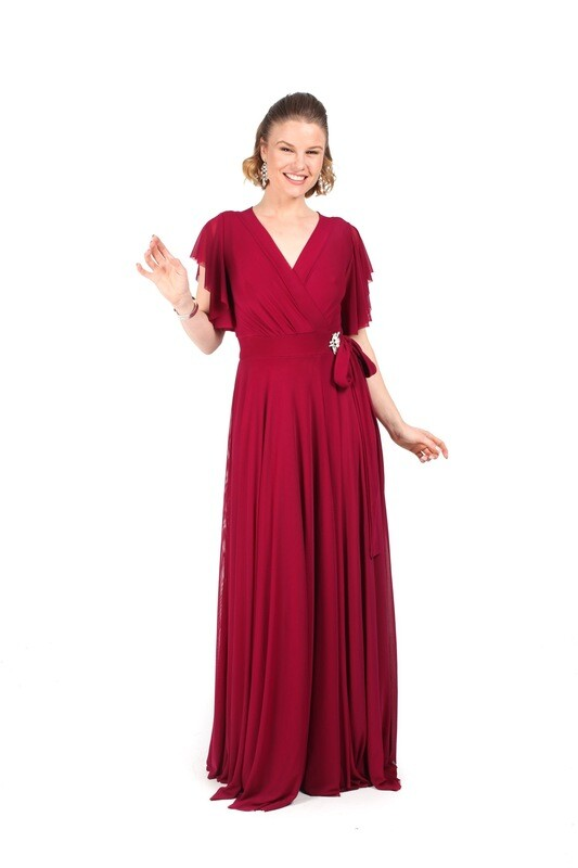 Jacoba Wrap Dress with Flutter Sleeve