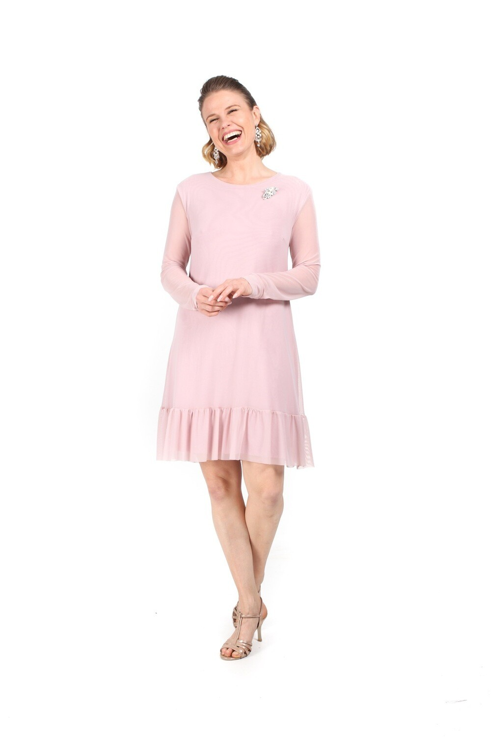 Frill Tunic with sheer mesh Sleeve