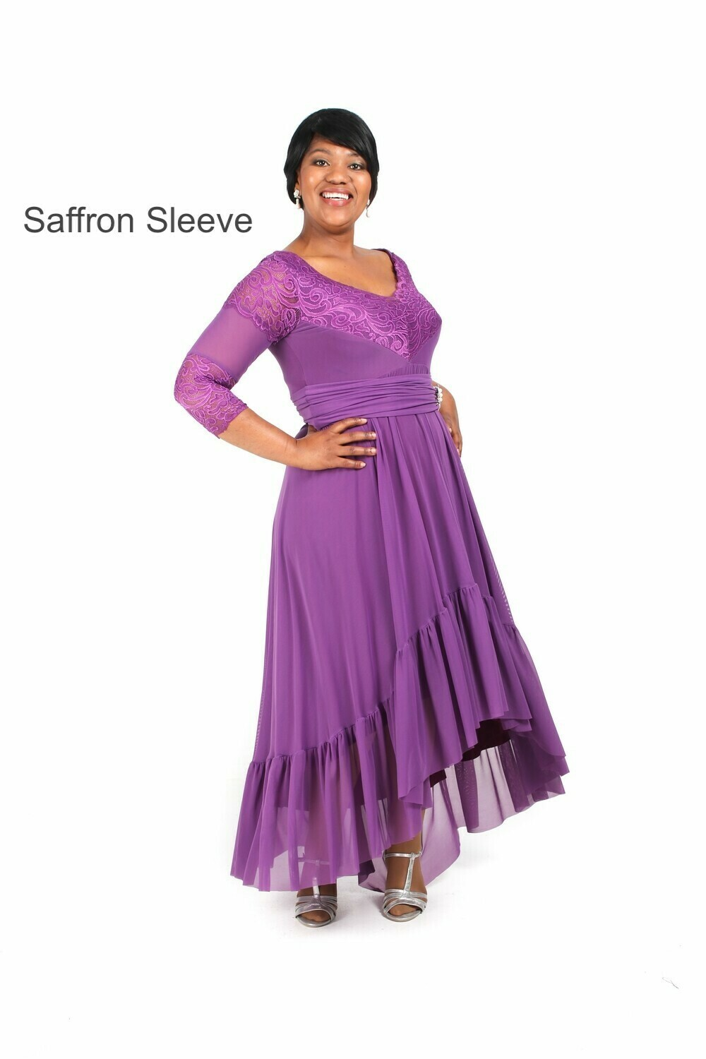 Anja Plus Size Evening Dress with a Gypsy skirt and various lace sleeves.