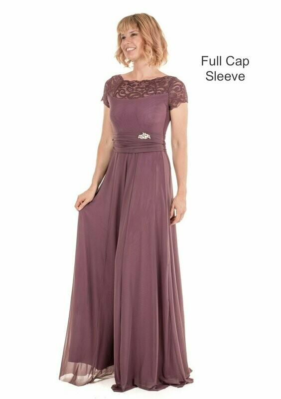 Elizabeth Evening Dress with Full Cap Sleeves