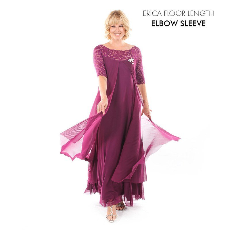 Erica Evening Dress with Elbow Sleeve