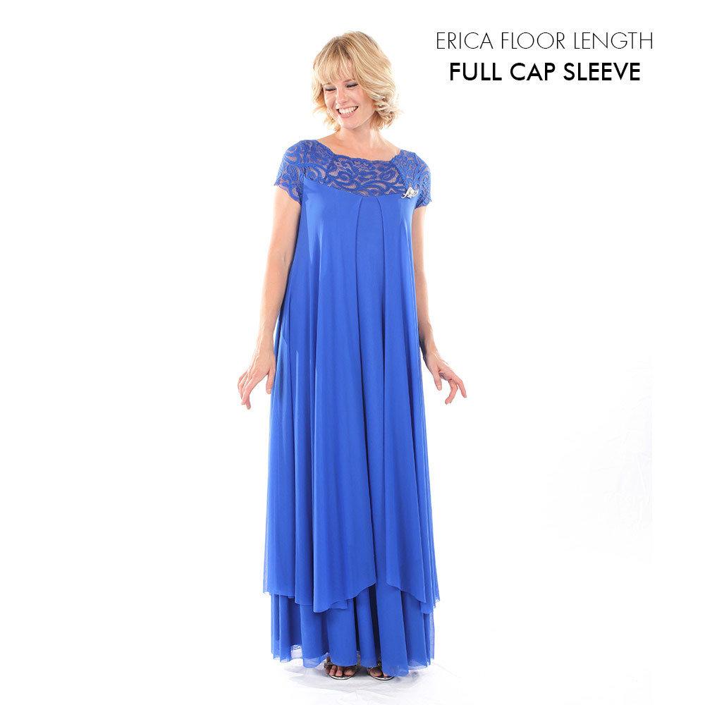 Erica Evening Dress with Full Cap Sleeve