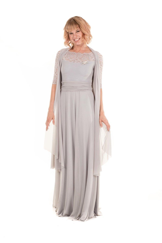 Cecelia Evening Dress with Sheer Overlay