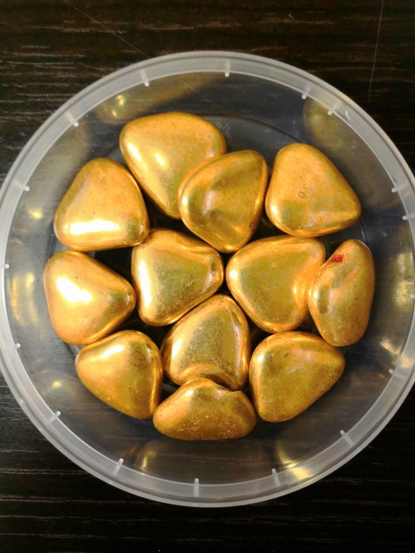 Украшение шоколадное Золотые сердечки 23 мм 50 гр