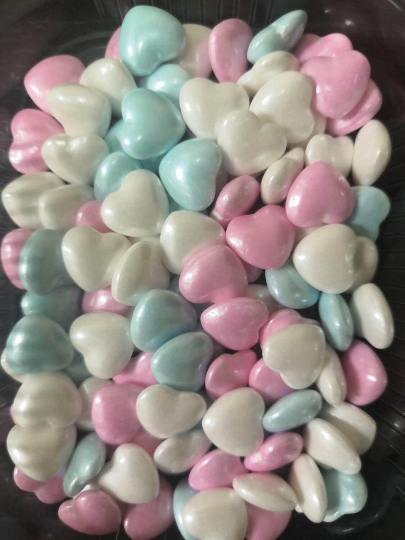 Посыпка Микс Сердечки 3D белый-розовый-голубой 50 гр