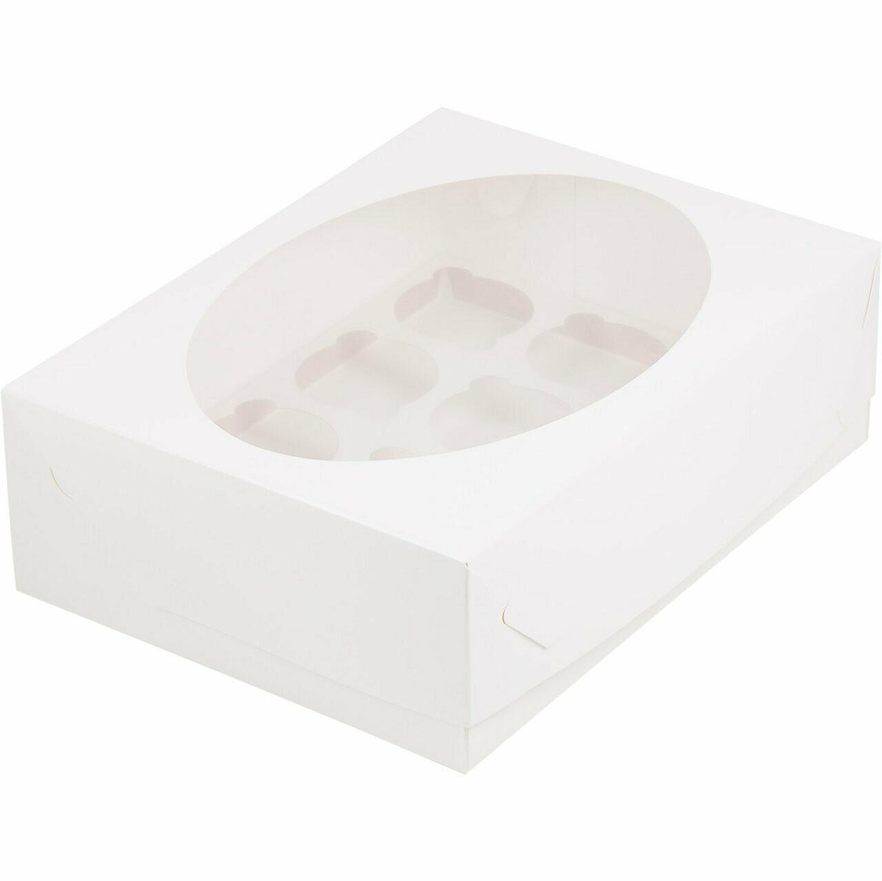 Упаковка для капкейков белая с окном на 12 шт