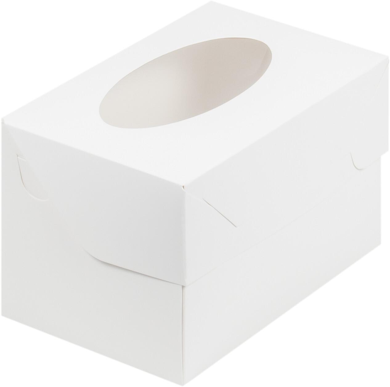 Упаковка для капкейков белая с окном на 2 шт