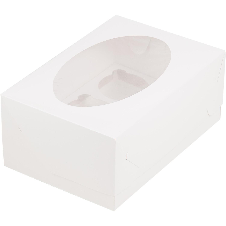 Упаковка для капкейков белая с окном на 6 шт
