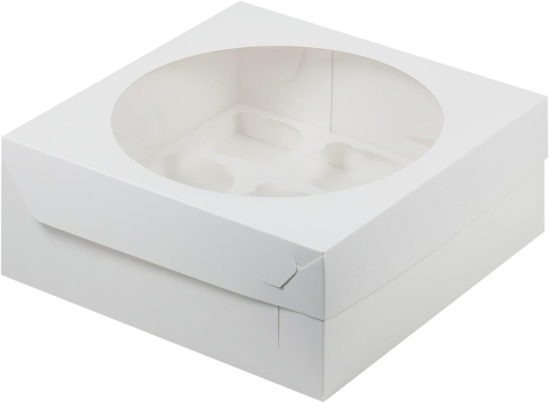 Упаковка для капкейков белая с окном на 9 шт