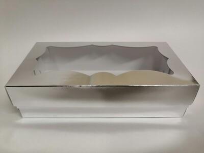 Коробка для кондитерских изделий фигурное окно серебро 21*10*5.5 см