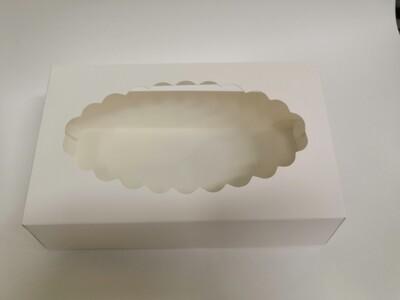 Коробка для эклеров с окном белая 24*14*5 см