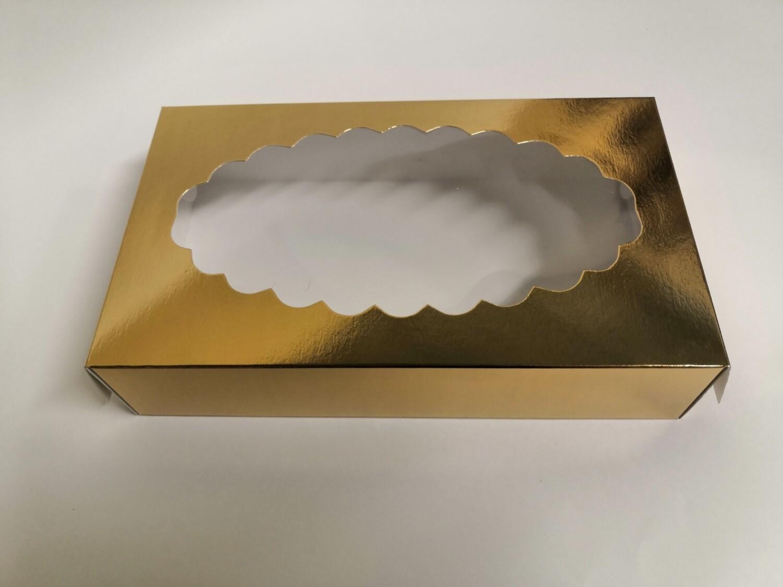 Коробка для эклеров с окном золото 24*14*5 см