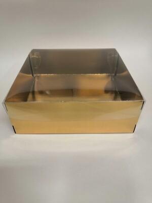Коробка с прозрачной крышкой золото 20*20*7 см