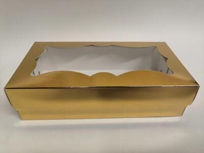 Коробка для кондитерских изделий фигурное окно золото 21*10*5.5 см