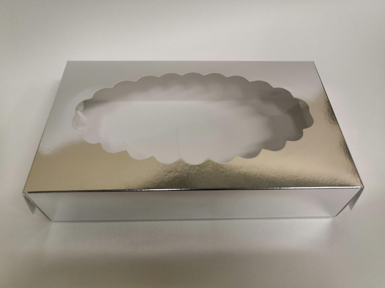 Коробка для эклеров с окном серебро 24*14*5 см
