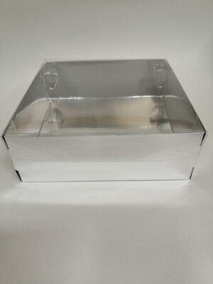 Коробка с прозрачной крышкой серебро 20*20*7 см