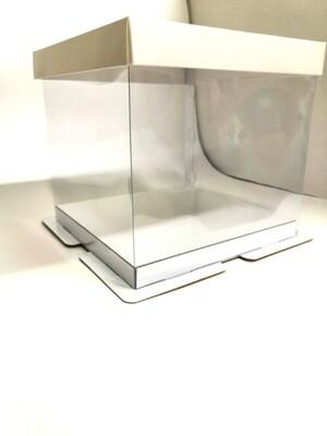 Коробка для торта белая Пластик квадрат 26*26*28 см