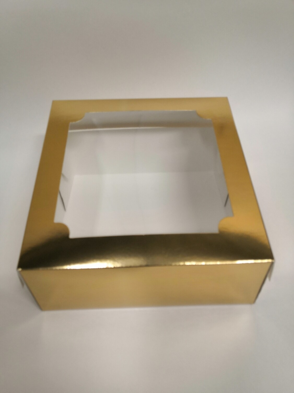 Коробка для зефира с окном золото 20*20*7 см