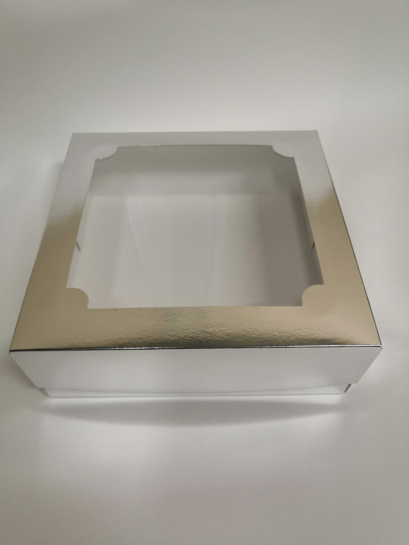 Коробка для зефира с окном серебро 20*20*7 см