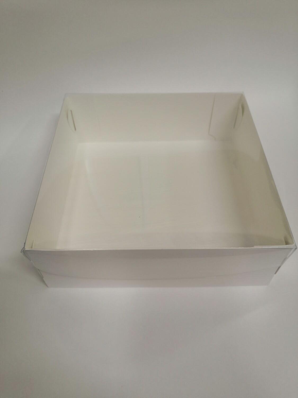 Коробка с прозрачной крышкой белая 20*20*7 см