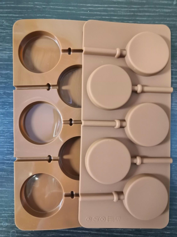 Силиконовая форма для леденцов Круг 5 см 5 ячеек
