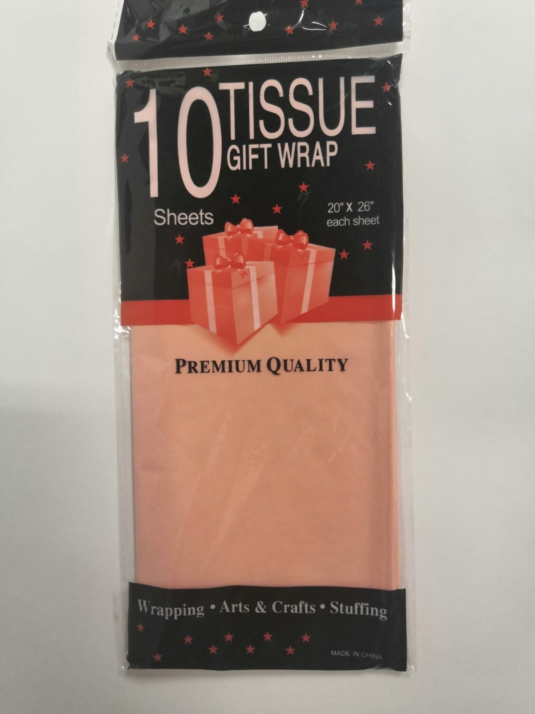 Бумага тишью 50*66 см персиковый 10 листов