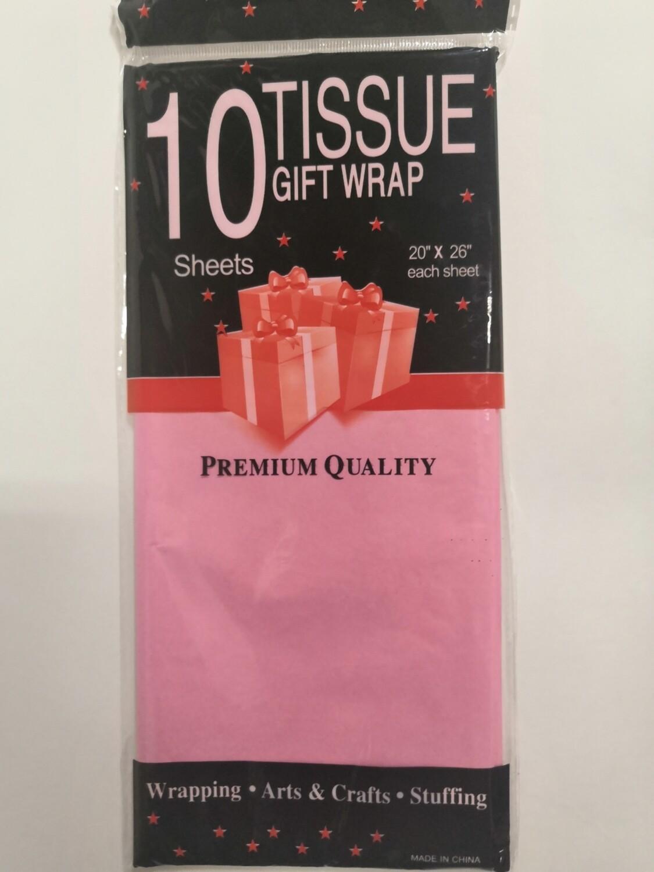Бумага тишью 50*66 см розовый 10 листов