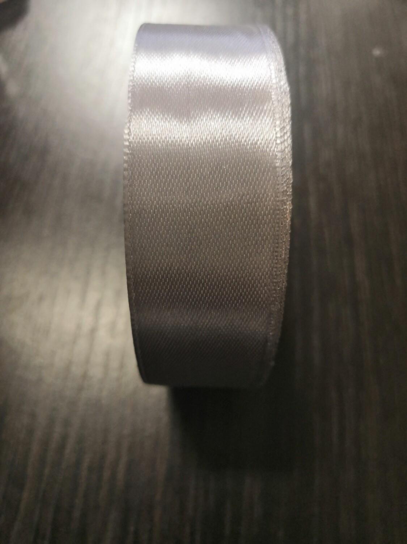 Лента атласная h 25 мм серебро