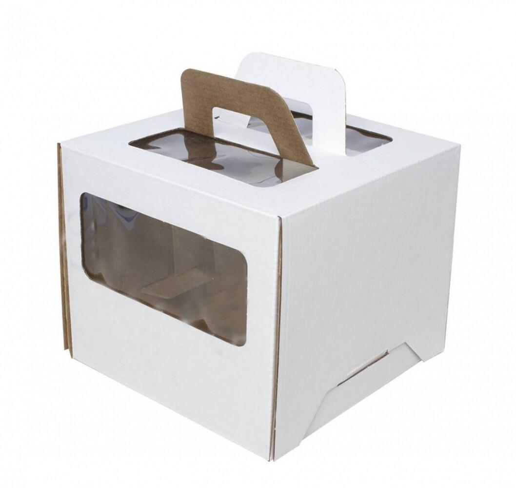 Коробка для торта гофрокартон с ручками белая 28*28*20 см