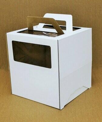 Коробка для торта гофрокартон с ручками белая 26*26*28 см