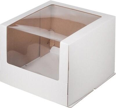 Коробка для торта гофрокартон с увеличенным окном 26*26*21 см