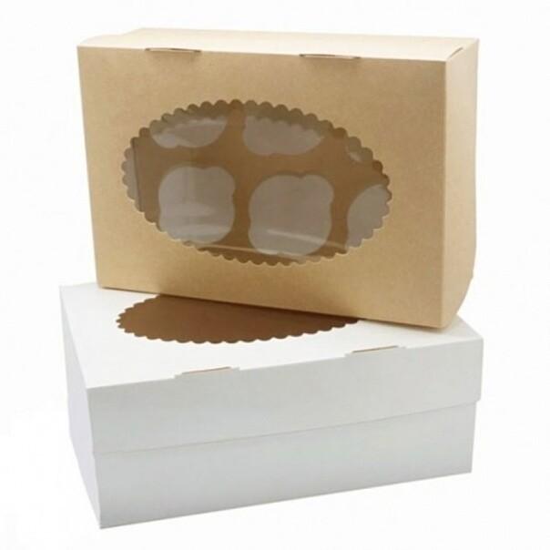 Упаковка для капкейков двусторонняя белая/крафт с окном на 6 шт