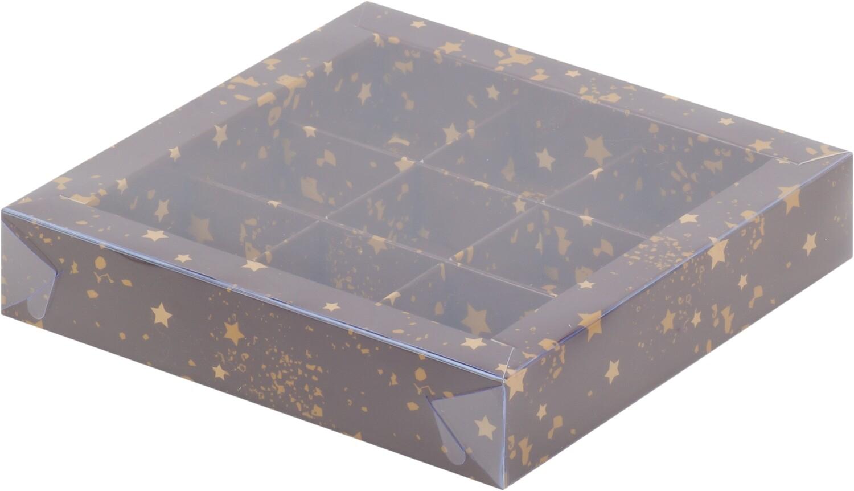 Упаковка для конфет на 9 шт коричневая со звездами