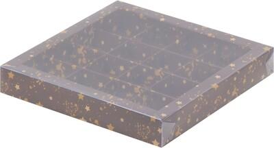 Упаковка для конфет на 16 шт коричневая со звездами