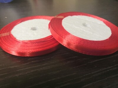 Лента атласная h 0,6 см красный