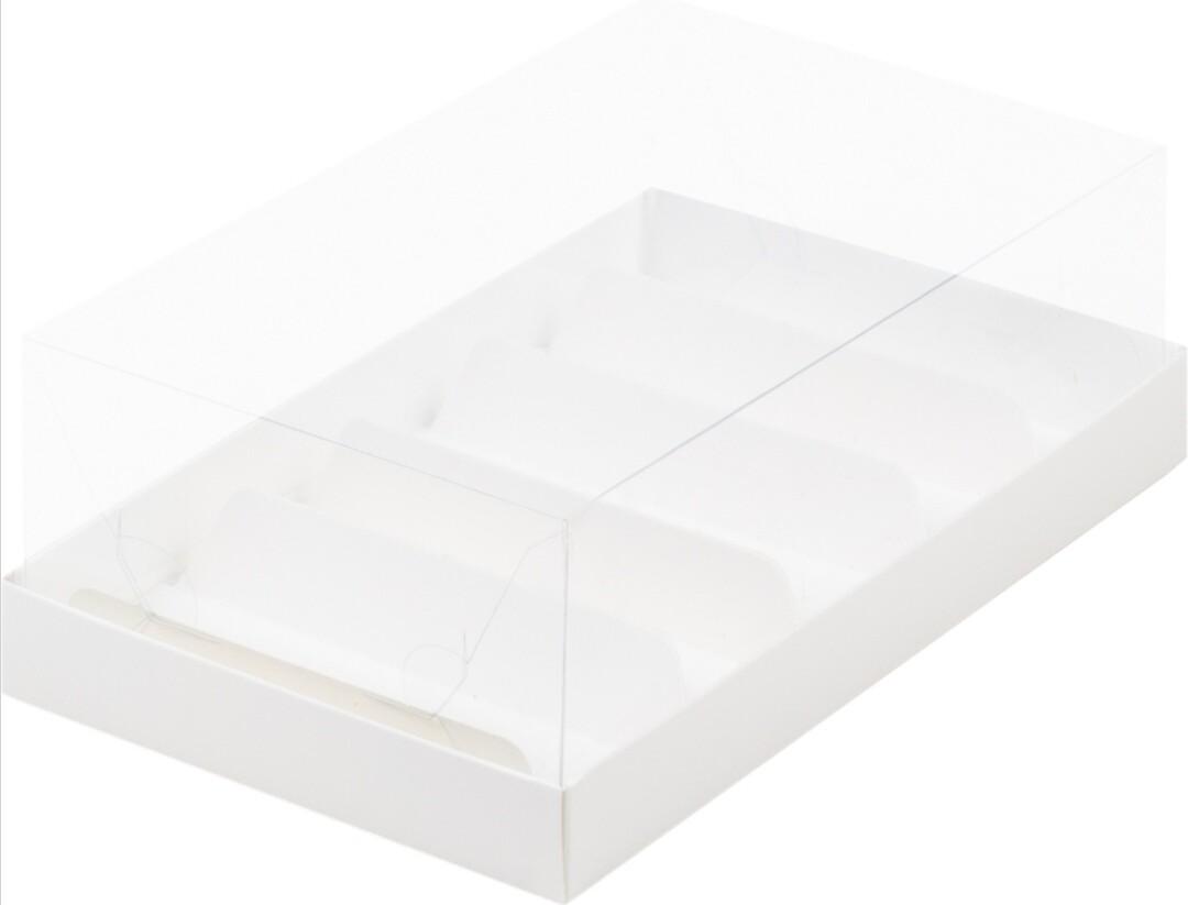Коробка для эклеров и пирожных с прозрачным куполом и 5 ложементов 22*13,5*7