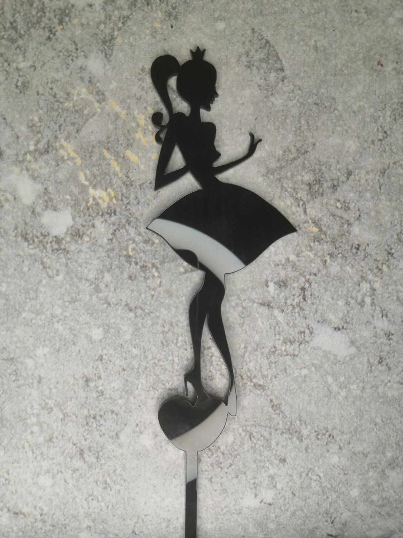 Топпер Девушка с короной черный глянец