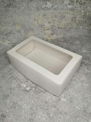Коробка для кондитерских изделий белая с окном 23*14*6,5 см