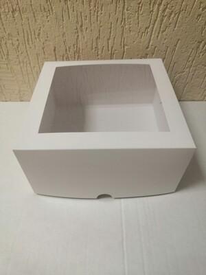 Коробка для торта с окном 22*22*11 белая