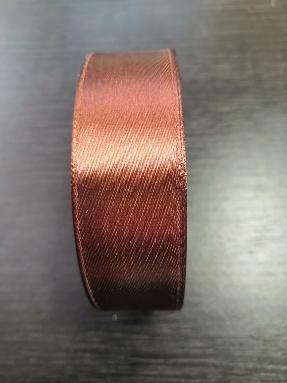 Лента атласная h 25 мм шоколадный