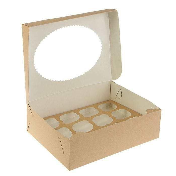Упаковка для капкейков двусторонняя белая/крафт с окном на 12 шт