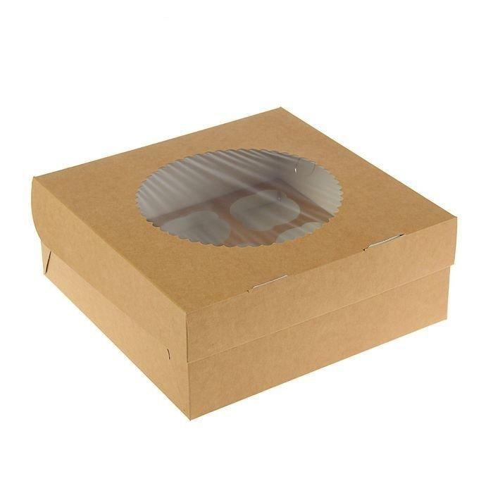 Упаковка для капкейков двусторонняя белая/крафт с окном на 9 шт