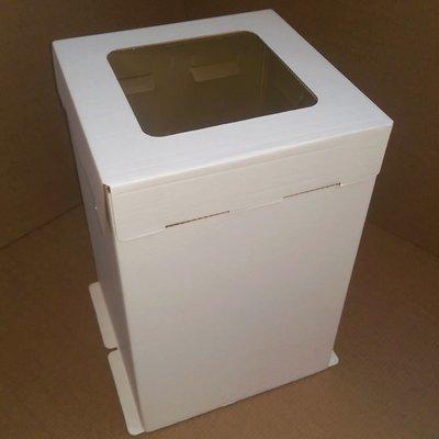 Коробка для торта гофрокартон 30*30*45 с окном